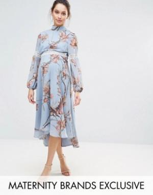 Hope and Ivy Maternity Платье миди с кружевными вставками и принтом птиц &. Цвет: синий