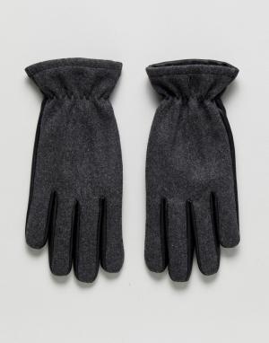 Jack & Jones Перчатки из кожи и шерсти. Цвет: черный