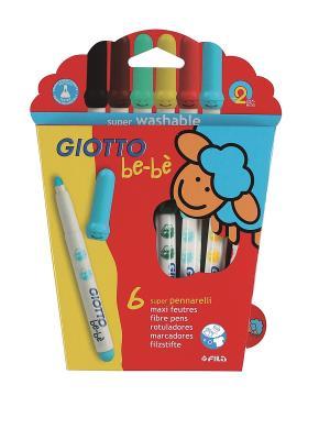 Giotto BEBE Super Fibre Pens  6 цв. Детские фломастеры с толстым стержнем FILA. Цвет: желтый, голубой, красный