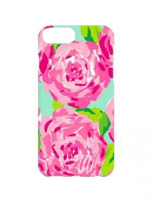Чехол для iPhone 7PlusРозы гуашью Арт. 7Plus-271 Chocopony. Цвет: розовый, голубой, зеленый