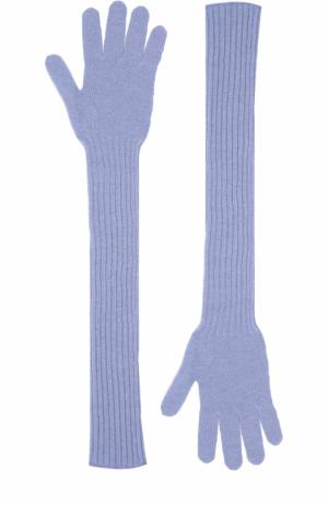 Удлиненные кашемировые перчатки Tegin. Цвет: голубой