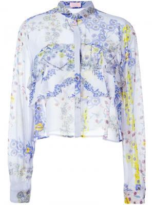 Рубашка с цветочным принтом Giamba. Цвет: розовый и фиолетовый