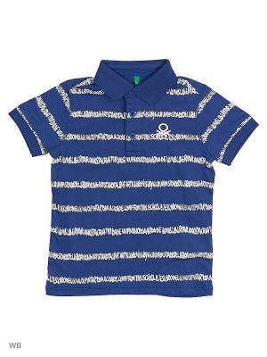 Футболка-поло United Colors of Benetton. Цвет: синий, светло-бежевый