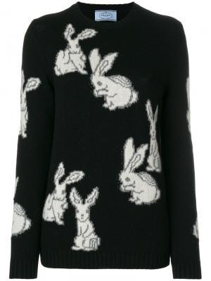 Джемпер с кроликами Prada. Цвет: чёрный