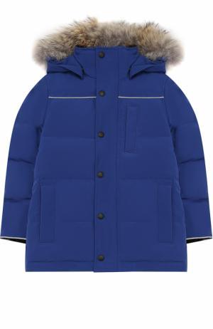 Пуховая куртка Eakin с меховой отделкой на капюшоне Canada Goose. Цвет: синий