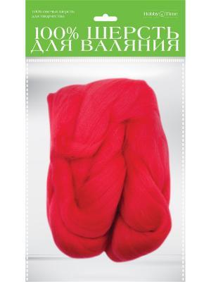 Шерсть для валяния полутонкая (гребенная лента), красная, 50 гр. Альт. Цвет: красный