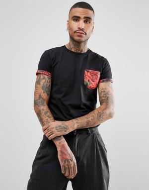 Criminal Damage Черная футболка с карманом и цветочной отделкой. Цвет: черный