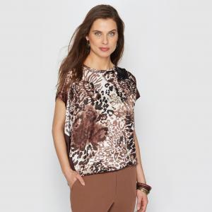 Блузка с рисунком, сатин стрейч ANNE WEYBURN. Цвет: набивной рисунок