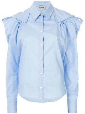 Приталенная рубашка с оборкой Rachel Comey. Цвет: синий