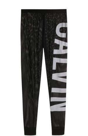 Перфорированные брюки с надписью Calvin Klein Underwear. Цвет: черный