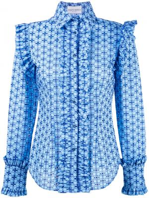 Рубашка с рисунком и оборками Daizy Shely. Цвет: синий
