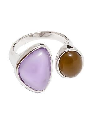 Кольцо Kameo-bis. Цвет: сиреневый, бежевый, серебристый