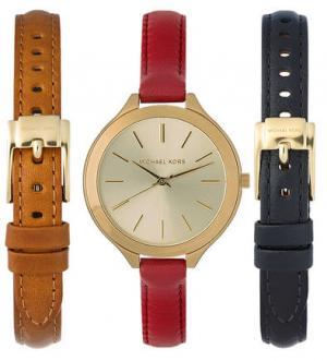 Часы со съемным кожаным браслетом Michael Kors