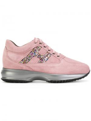 Хайтопы на шнуровке Hogan. Цвет: розовый и фиолетовый