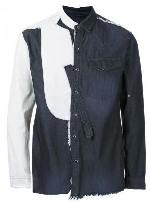 Деконструированная джинсовая рубашка Maison Mihara Yasuhiro. Цвет: чёрный