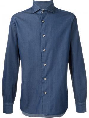 Джинсовая рубашка Barba. Цвет: синий