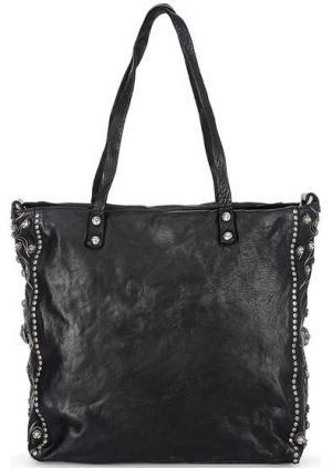 Черная кожаная сумка с металлическим декором Campomaggi. Цвет: черный