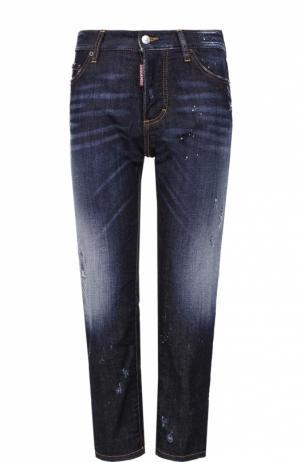 Укороченные джинсы прямого кроя с потертостями Dsquared2. Цвет: синий