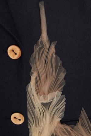 Шерстяной жакет с гофре Ruban. Цвет: черный