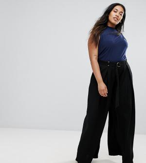 Elvi Черные брюки-палаццо. Цвет: черный