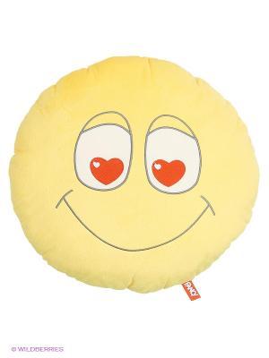 Подушка Смайлик влюблённый Fancy. Цвет: желтый