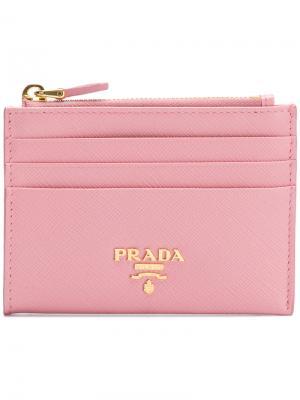 Визитница с бляшкой логотипом Prada. Цвет: розовый и фиолетовый