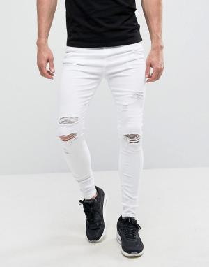 Good For Nothing Супероблегающие рваные джинсы белого цвета. Цвет: белый