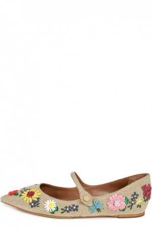 Текстильные туфли с вышивкой Tabitha Simmons. Цвет: бежевый