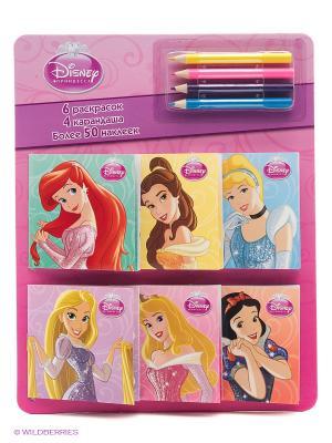 Принцессы. Раскраски в кармашках. ( с наклейками 6шт., набор цветных карандашей). Эгмонт. Цвет: фиолетовый
