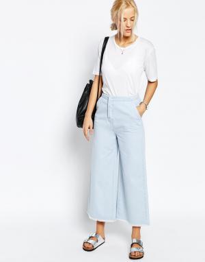 ASOS Голубые джинсы с широкими штанинами. Цвет: синий