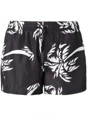 Плавки с принтом пальм Dolce & Gabbana. Цвет: чёрный