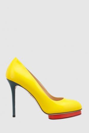 Кожаные туфли Dotty Charlotte Olympia. Цвет: желтый, красный