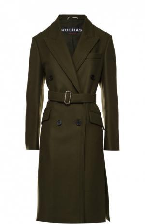 Двубортное шерстяное пальто с поясом Rochas. Цвет: зеленый