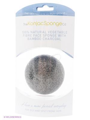 Воздушный спонж для лица Premium, с бамуковым углем The Konjac Sponge Company. Цвет: серый