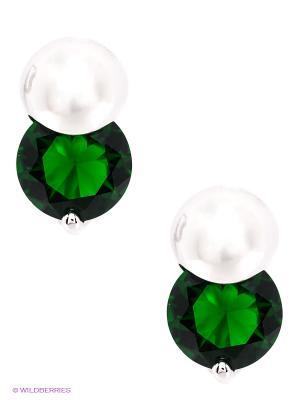 Серьги Royal Diamond. Цвет: зеленый, белый