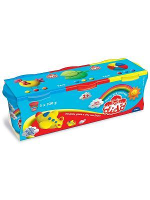 Dido, паста для лепки, 3*220 гр, синяя, красная, желтая. FILA. Цвет: синий, голубой, желтый