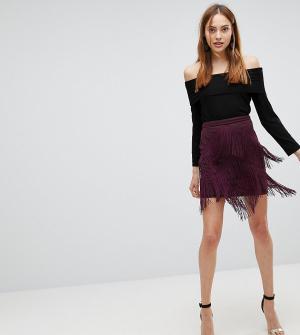 ASOS Tall Мини-юбка с бахромой. Цвет: серый