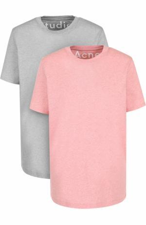Хлопковая футболка прямого кроя с круглым вырезом Acne Studios. Цвет: разноцветный
