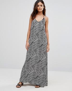 Echo Пляжное платье макси с принтом. Цвет: черный