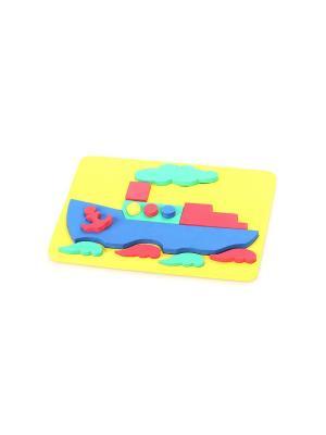 Игрушка рамка-вкладыш мозаика Пароход БОМИК. Цвет: синий, красный, светло-зеленый