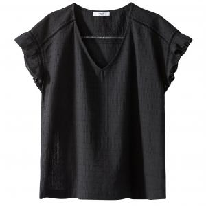 Блузка из хлопка SUNCOO. Цвет: черный