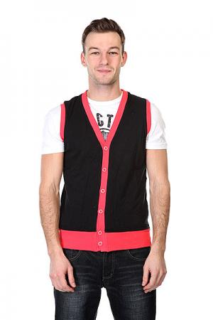 Жилетка  Jersey Button Vest Black Infrared Urban Classics. Цвет: черный,розовый