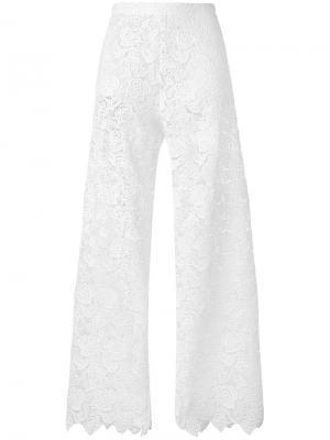 Кружевные пляжные брюки Ermanno Scervino. Цвет: белый