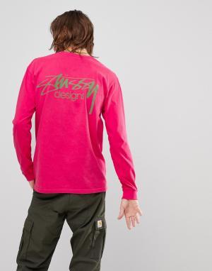 Stussy Розовый лонгслив с логотипом. Цвет: розовый