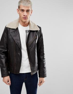 Nudie Jeans Кожаная куртка-авиатор Co. Цвет: коричневый