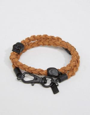 Icon Brand Коричневый плетеный браслет. Цвет: коричневый