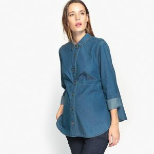 Рубашка из денима для периода беременности La Redoute Collections. Цвет: синий