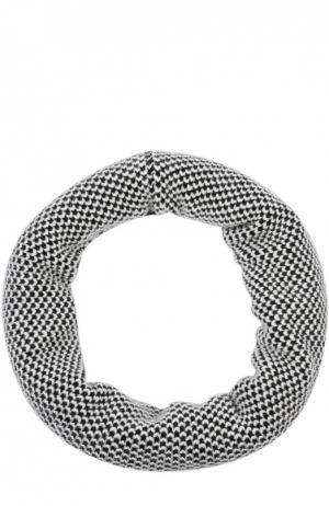 Вязаный шарф-снуд из кашемира Johnstons Of Elgin. Цвет: черно-белый