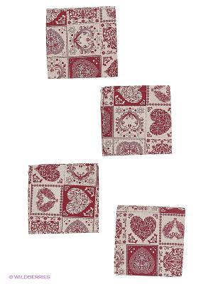 Набор салфеток Аmore 4 шт T&I. Цвет: светло-серый, красный