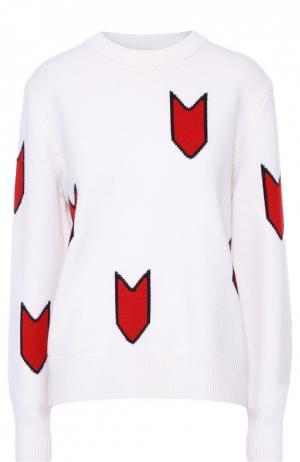 Шерстяной пуловер свободного кроя с контрастным принтом Rag&Bone. Цвет: белый